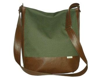 olive green crossbody bag, olive crossbody bag, canvas leather crossbody bag, olive bag, olive purse, olive crossbody purse, olive green