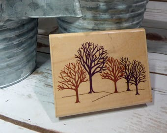 WINTER WOODS stamp, Wood Mounted Rubber Stamp, Tree Stamp, Landscape Stamp, Rubber Stampede, Paper Crafting
