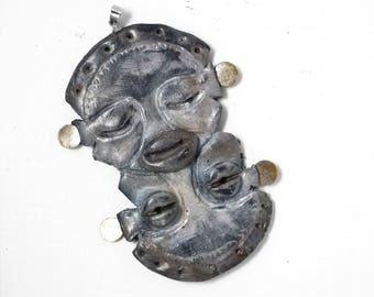 Polymer clay face pendant. The piece for jewelry making. Charm faces. Polymer clay faces.