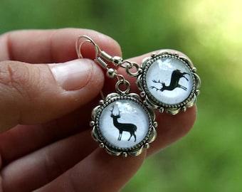 Reindeer earrings, Reindeer on snow, Christmas earrings, Winter earrings, Scandinavian earrings, reindeer jewelry
