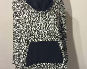 Black & White Poncho with Pocket