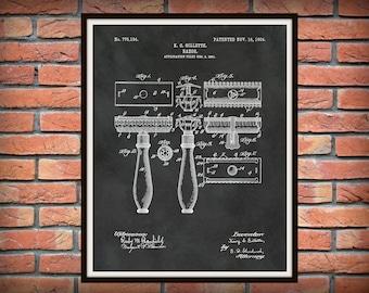 1904 Gillette Razor Patent Print - Bathroom Decor - Barber Shop Decor - Wall Art - Gillette Shaver Art Print - Barber Shop Decor -