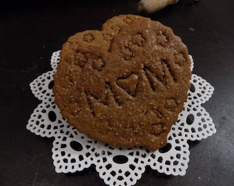 Ginger Heart Shaped Cookies for MOM, Sweet Gift for Mother's Day - Give your Heart to MOM- 1 dozen Gingerbread Hearts, embossed for Mother