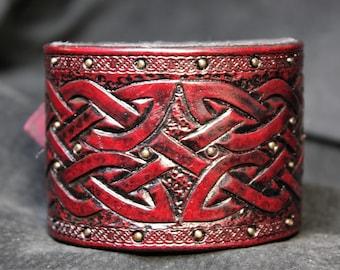 Viking leather cuff, Viking Leather, Tooled Leather, Tooled Leather Cuff, Viking Clothing, Leather Armor, Viking Bracer, Modern Viking