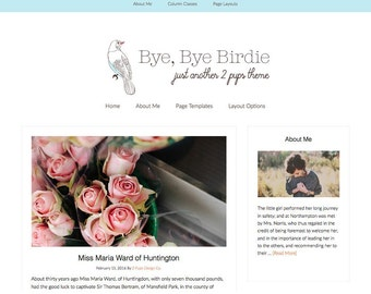 Feminine Wordpress Template, Blue Responsive Blog Theme, Minimalist Blog design