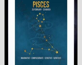Zodiac Star Sign Birthday Astrology Blue Pisces Framed Wall Art Print F12X11647
