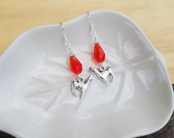 Red Llama Earrings, Red Llama Sterling Silver Dangle Earrings, Silver Llama Sterling Silver Earrings, Llama Earrings