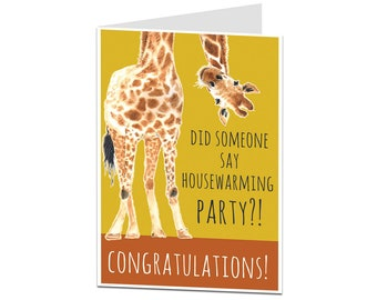 New Home Card. Funny New Home Card. Congratulations On The New Home. Funny Housewarming Card. Funny Moving In Card. Housewarming Party!