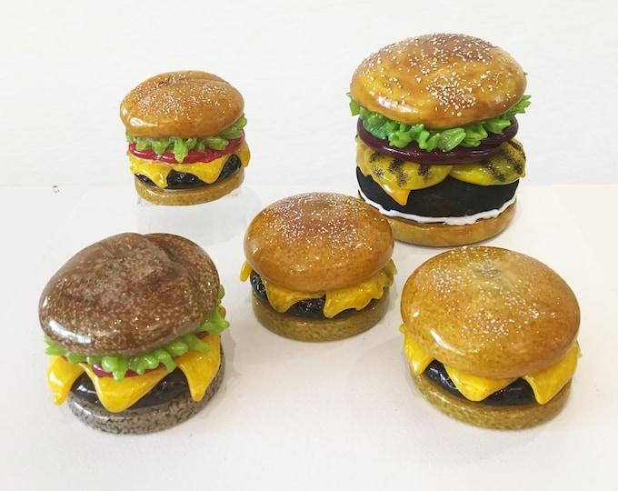 Hand Sculpted Glass Hamburgers