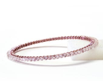 Rose Quartz Bracelet - Wire Wrapped Gold Plated Bangle with Rose Gold Patina - Stacking Bracelets