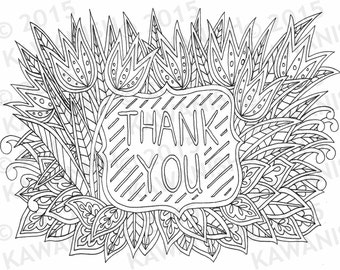 thank you floral flower zentangle adult coloring page gift wall art line drawing