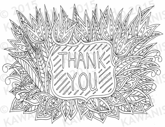 Line Art Thank You : Thank you floral flower zentangle adult coloring page gift