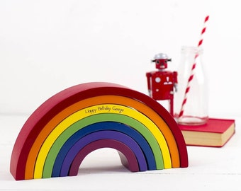 Personalised Decorative Rainbow Stacking Toy - Gift for Kids - Gifts for Children - Children's Toy - Rainbow Gift - Cute Gift - Rainbow Toy
