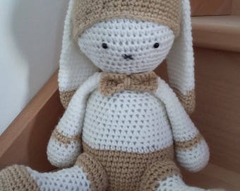 Hand crocheted beige and white hare