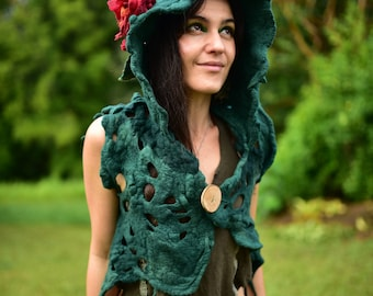 Felt Hooded Rose Vest-Tree Roots Top-Woodland Costume-Nymph Princess Of The Forest Moss Green Vest-Druid Costume-Pixie Vest-Hoodie OOAK