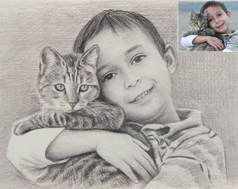 Cat portrait painting, Custom cat portrait,  Custom Cat Portrait, Cat Painting, Custom Cat Illustration, Pet portrait, Unique Gift Idea