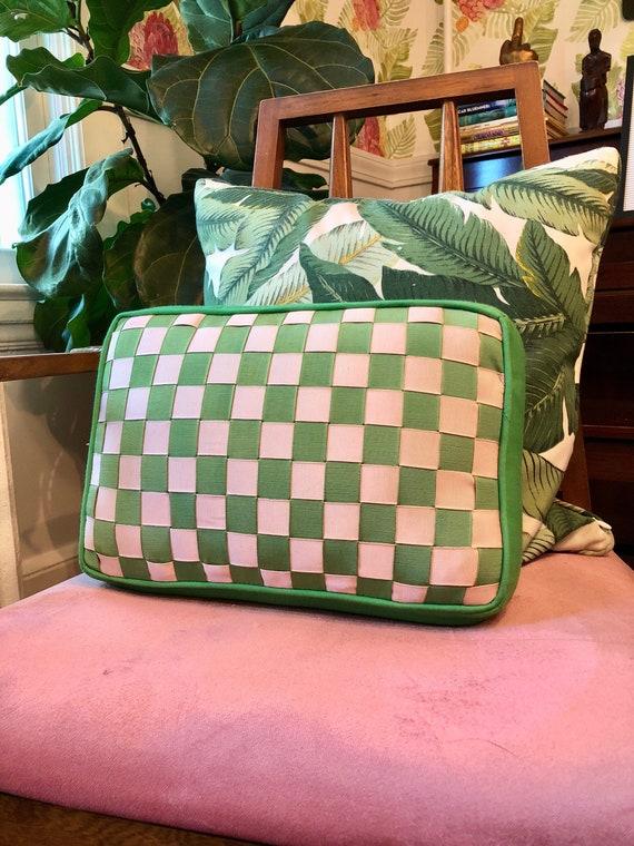 Vintage Small Green + Pink Pillow with Zip Closure - Rectangular Throw Pillow in Pink + Green Checks - Handmade Throw Pillow