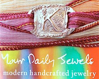Wax Seal Jewelry Silver Initial Silk Wrap Bracelet . Yoga Jewelry . Hand Dyed Silk Ribbon. Design Your Own Charm Bracelet
