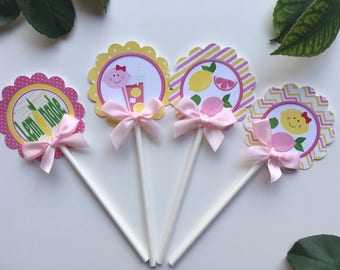Lemonade cupcake toppers/Pink and yellow Lemonade / Lemonade  theme