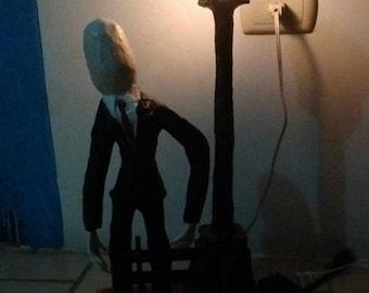 Slenderman paper mache lamp Pop Art-Slenderman lamp (indoor) Papier mache handmade Pop Art