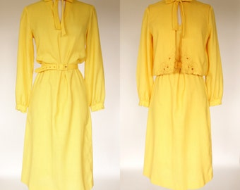 1960s yellow linen dress, belted long sleeve dress with matching vest, Large