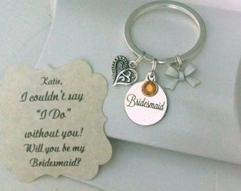Unique Bridesmaid Gift, Bridesmaid Proposal, Tie The Knot, Bridesmaid Ask, Will You Be My Bridesmaid, Gift Bridesmaid, Keychain, Charm TINY