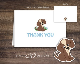 Instant Download Puppy Thank You Cards, Folded Blue Brown Puppy Baby Shower Thank You Card, Dog Birthday Thank You Card 71A