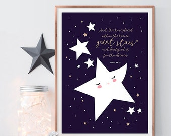 Quran Quote 'Starry Heavens' Nursery Print with Quran Quote