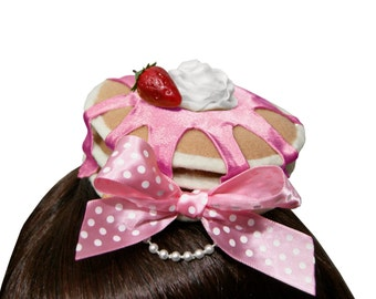 Delicious Strawberry Syrup Pancakes and Whipped Cream Barrette - More Bow Colors Available!