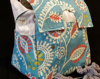 Sky blue, flowers, knitting Bag, crochet tote, tie-dye inside, rainbow, Knitting supplies, Yarn Dispenser, snag free interior, many pockets