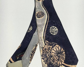 1940s Floral Blue Swing Tie