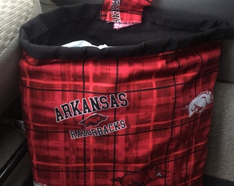 Ready to Ship University of Arkansas Car Trash Bag Holder, Car Trash Bag, Arkansas Bag, Vehicle Organizer, Car Bag With Liner