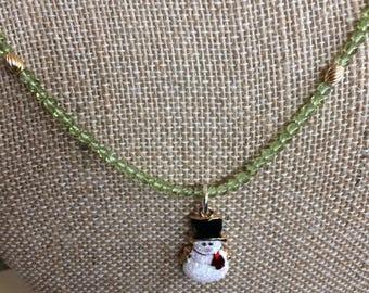 Beaded Peridot santa necklace