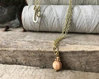 Moonstone Necklace, Peach Moonstone