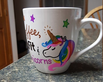 Coffee Crossfit Unicorns Hand-painted Custom Personalized Coffee Mug