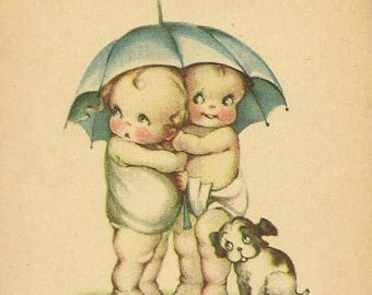 Kewpies under umbrella with dog Vtg. image... decoupage, collage,sewing and so much more* 5X7 inch fabric block