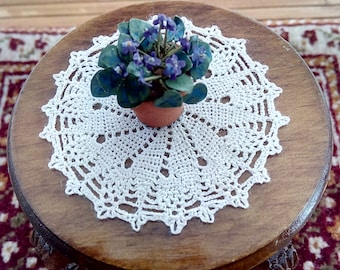 dollhouse miniature smaller silk crochet doily, round table top, IGMA artisan