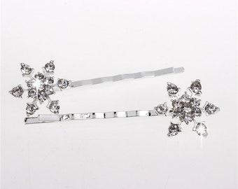 Set of 2 Rhinestone Crystal Snowflake Bobby Pin Hair Clip