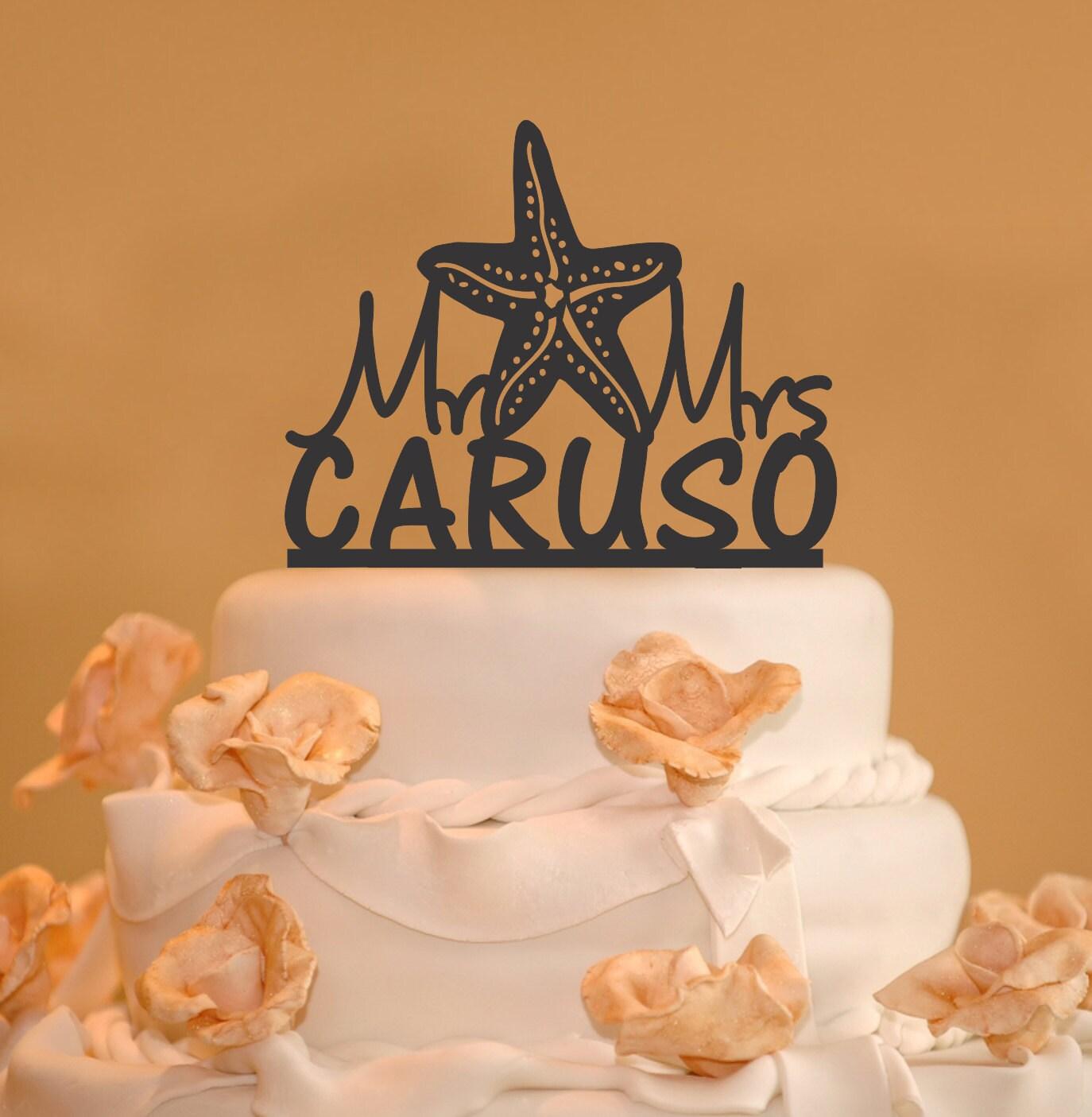 Starfish Wedding Cake Topper Personalized wedding cake
