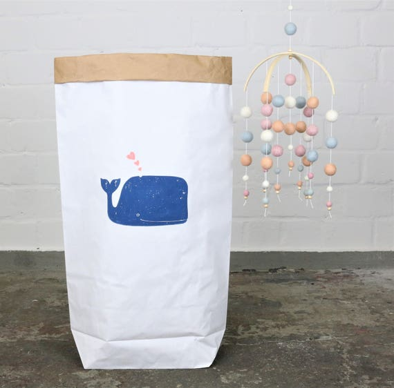 Paper Sack Paperbag * Small whale * whale print
