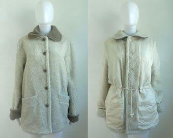 reversible fleece & silk coat size medium 90s button down minimalist military coat 1990s womens fall winter collared jacket
