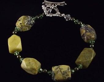 Yellow Turquoise Bracelet  with Swarovski Crystals
