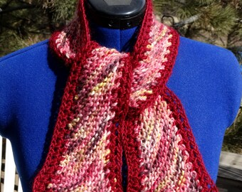 On SALE - Heart's Desire Hand Knitted Hand Crocheted Scarf made from Hand Painted and Hand Spun Merino Silk Mohair Yarn