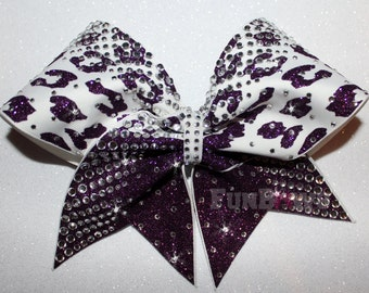 WOW ! Cheetah and Rhinestones - your colors - Beautiful blingy rhinestone cheer bow by FunBows !