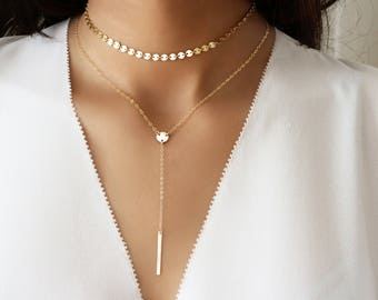 Y necklace, Tiny bar drop necklace, Skinny drop bar necklace, Gold  Lariat necklace, Y shape Delicate drop bar necklace, Mothers day gift,