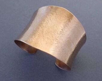 Hammered Bronze Cuff Bracelet Solid Bronze Textured Metal Artisan Handmade Modern Bronze Anniversary Jewelry Eighth 8th Anniversary Gift