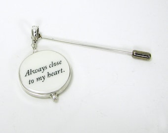 Boutonniere Pin with Photo Memorial Charm - LG