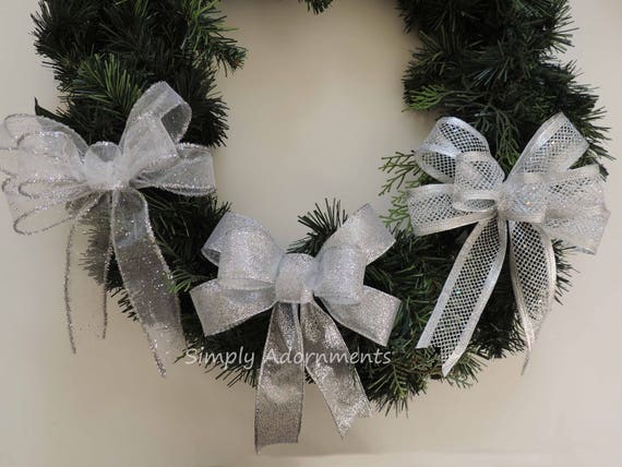 Silver Gift Bow Silver Christmas Ornament Tree Bow Silver Winter Wedding Decor Silver Party Decoration Silver Christmas Decor Gift Bow