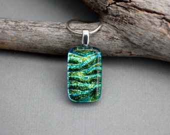 Lime Green Necklace - Unique Jewelry - Green Pendant Necklace - Fused Glass Pendant - Dichroic Glass Jewelry