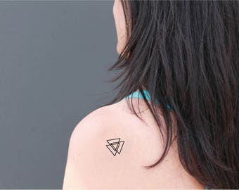 2 triangles temporary tattoos /geometric temporary tattoo / small tattoo/ tattoo set